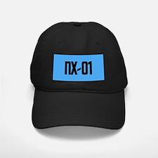 NX-01 Baseball Hat - Black txt/Sci-Med blue backgrnd