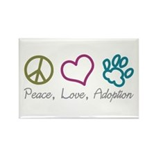 Peace, Love, Adoption Rectangle Magnet