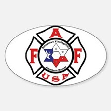 Jewish Firefighter Star Oval Decal