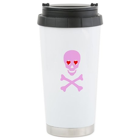 Pink Skull & Crossbones Stainless Steel Travel Mug