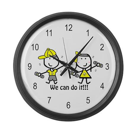 Exercise Yellow - Boy & Girl Large Wall Clock