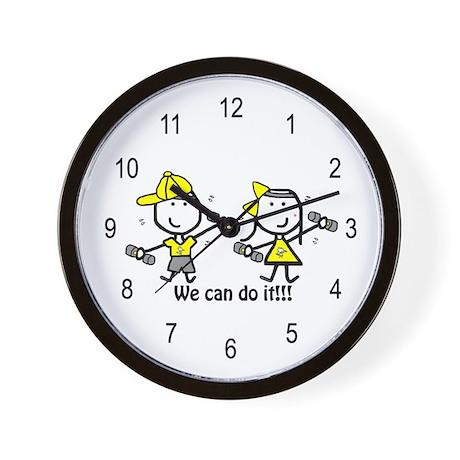Exercise Yellow - Boy & Girl Wall Clock