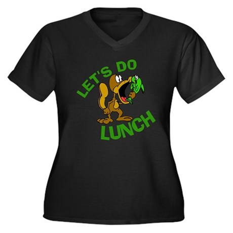 Lunch Do Lunch Women's Plus Size V-Neck Dark T-Shi