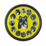 Colorful Tri-Color Sheltie Large Wall Clock