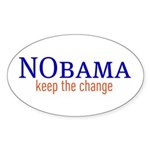 Nobama - keep the change Oval Sticker (50 pk)