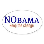 Nobama - keep the change Oval Sticker (10 pk)