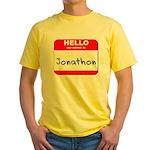 Hello my name is Jonathon Yellow T-Shirt
