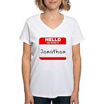 Hello my name is Jonathon Women's V-Neck T-Shirt