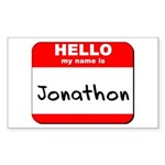 Hello my name is Jonathon Rectangle Sticker