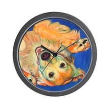 Cute Golden retriever art Wall Clock