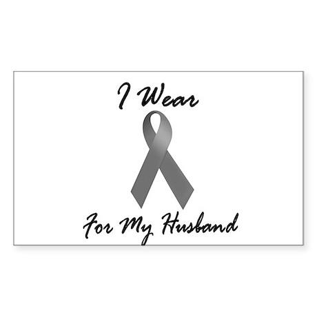 I Wear Grey For My Husband 1 Rectangle Sticker