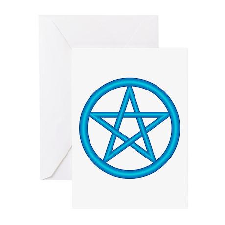 Powder Blue Pentagram Greeting Cards(Pk of 10)