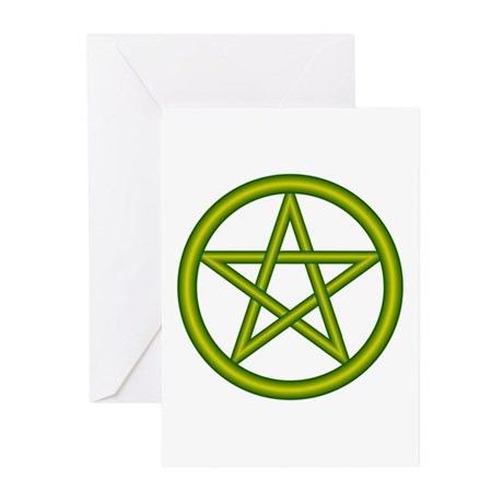 Dragon Green Pentagram Greeting Cards (Package of