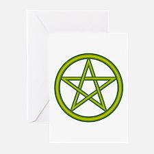 Dragon Green Pentagram Greeting Cards (Package of