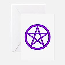 Wizard Purple Pentagram Greeting Cards (Package of