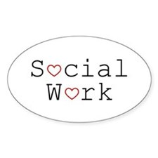 Social Work Hearts Oval Decal