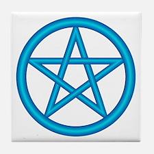 Powder Blue Pentagram Tile Coaster