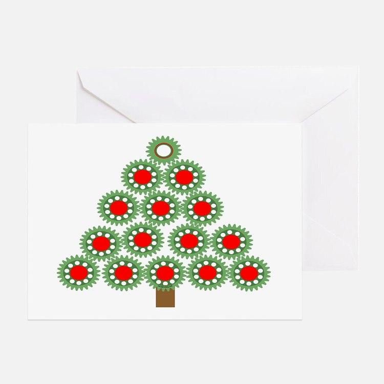 Mechanical Christmas Tree Greeting Card