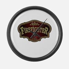 Firefighter Logo Large Wall Clock