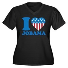 i Love Obama iHeart Women's Plus Size V-Neck Dark