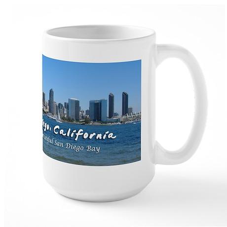 "San Diego, ""Beautiful San Diego Bay"" Large Mug"
