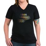 Derailleur: Women's V-Neck Dark T-Shirt