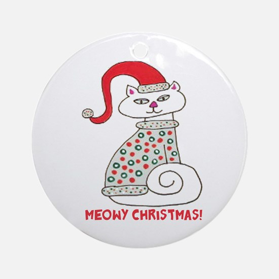 Meowy Christmas! Ornament (Round)
