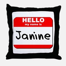 Hello my name is Janine Throw Pillow