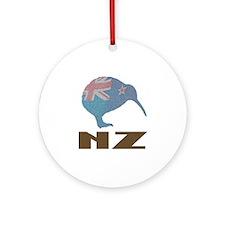 New Zealand Kiwi Flag Ornament (Round)