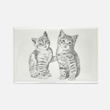 Two Tabby kittens Rectangle Magnet