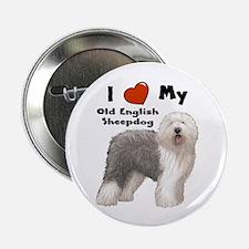"""I Love My English Sheepdog 2.25"""" Button"""