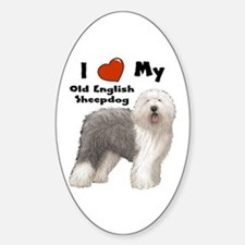 I Love My English Sheepdog Oval Decal