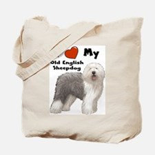 I Love My English Sheepdog Tote Bag