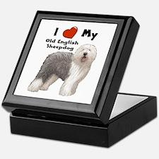 I Love My English Sheepdog Keepsake Box