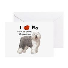 I Love My English Sheepdog Greeting Card