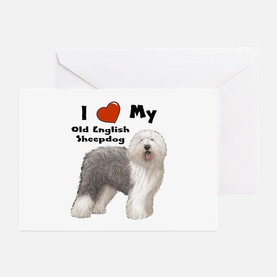 I Love My English Sheepdog Greeting Cards (Pk of 2