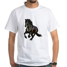 Black Stallion Horse White T-Shirt