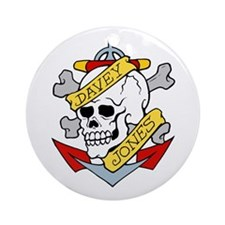 Davey Jones Skull Anchor Tattoo Ornament (Round)