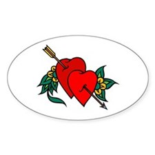 Two Hearts True Love Tattoo Oval Decal