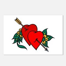 Two Hearts True Love Tattoo Postcards (Package of