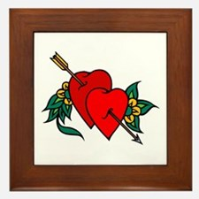 Two Hearts True Love Tattoo Framed Tile