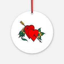 Two Hearts True Love Tattoo Ornament (Round)