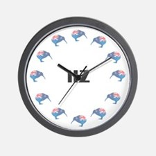 New Zealand Kiwi Flag Wall Clock