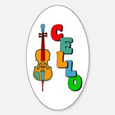 Colorful Cello Oval Decal
