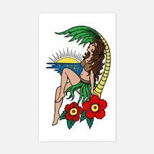 Hawaii Hula Girl Tattoo Rectangle Bumper Stickers