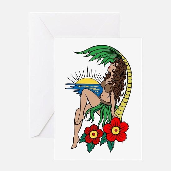 Hawaii Hula Girl Tattoo Greeting Card