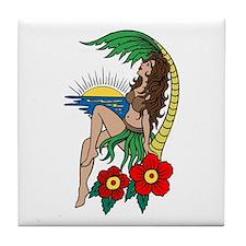 Hawaii Hula Girl Tattoo Tile Coaster