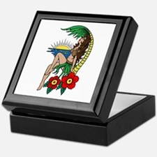 Hawaii Hula Girl Tattoo Keepsake Box