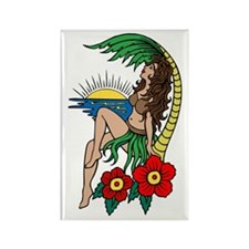 Hawaii Hula Girl Tattoo Rectangle Magnet (10 pack)