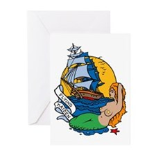 Flying Maiden Mermaid Tattoo Greeting Cards (Pk of